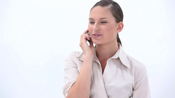 Happy business woman calling Footage