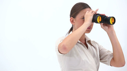 Elegant Woman Holding Binoculars stock footage
