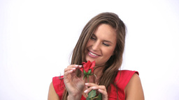 Happy woman holding a rose Stock Video Footage