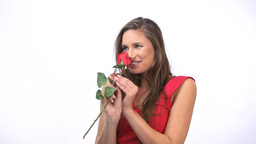 Joyful woman receiving a rose Footage