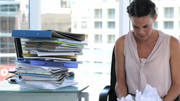 Irritated business woman in office Stock Video Footage