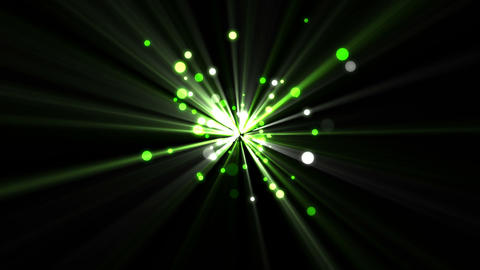 Green dots moving and coming from a shining star Footage