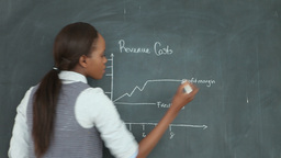 Video of a teacher next to a chart drawn on a blackboard Footage