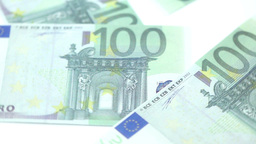 Bills of a hundred euros thrown on a table Footage