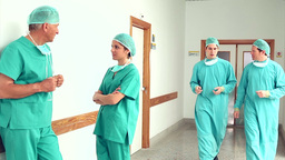 Surgeons speaking in the corridor Footage