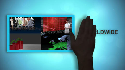 Black hands placing and moving worldwide communications videos Animation