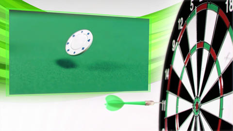 Slow motion darts animation with poker and gambling clips Stock Video Footage