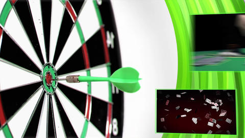 Slow motion darts animation with poker and gamblin Stock Video Footage