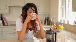 Woman drinking coffee Stock Video Footage