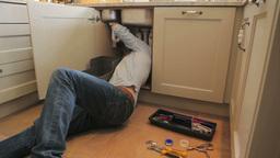Man repairing sink Footage