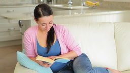 Woman sitting on the couch and reading a book Footage