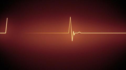 Orange heart monitor line Stock Video Footage