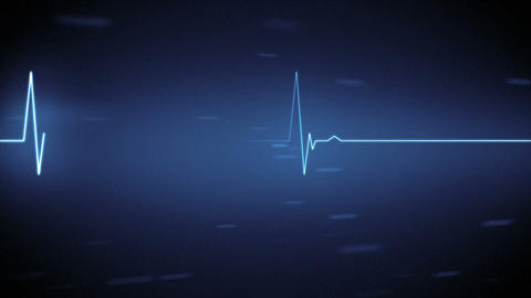 Blue heart monitor line with moving background Animation