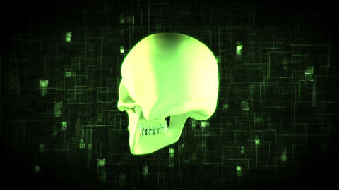 Revolving green skull on moving background Animation