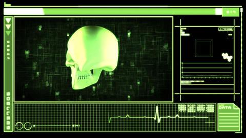 Medical digital interface showing skull Animation