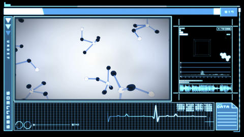 Digital interface showing molecules falling Animation