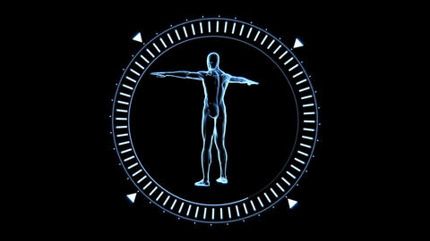 Revolving Figure Of Man Man In Moving Dial Circle stock footage