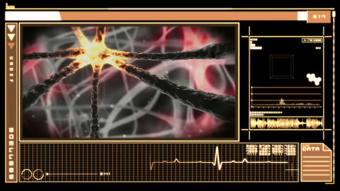 Medical digital interface showing neuron moving through nervous system Animation