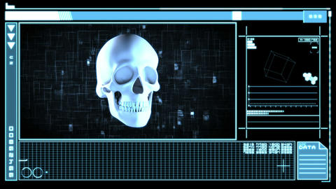Medical digital interface showing skull Stock Video Footage