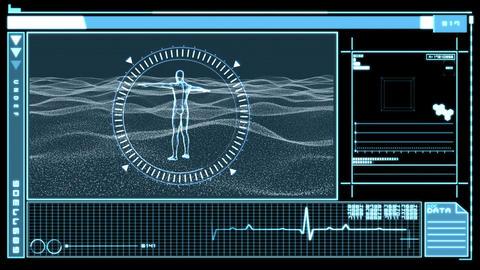 Digital interface showing revolving figure of man Footage