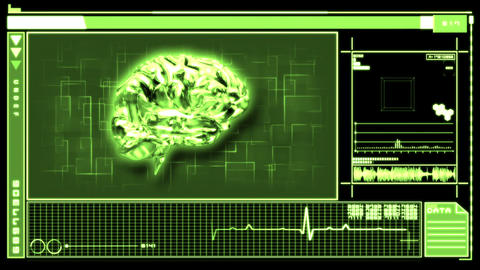 Digital interface featuring revolving brain Animation