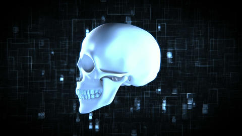 Revolving blue skull on moving digtial background Stock Video Footage
