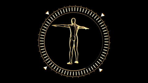 Figure of man revolving in dial circle Live Action