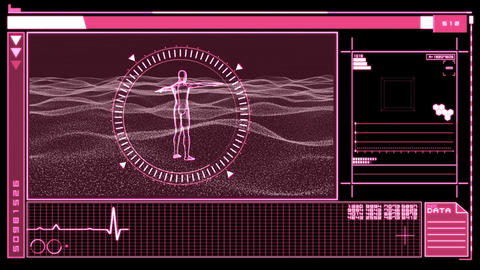 Digital interface featuring revolving figure of ma Stock Video Footage