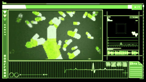 Digital interface featuring falling pills Animation