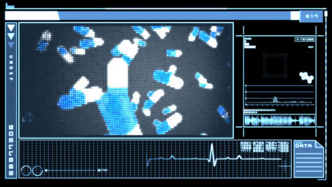 Interface featuring falling pills Stock Video Footage
