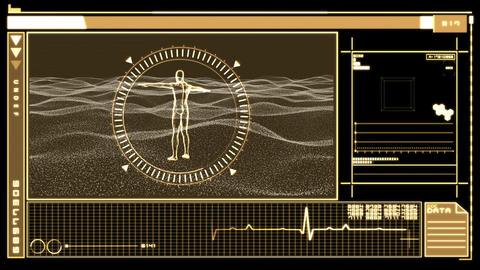 Digital interface displaying revolving human figur Footage