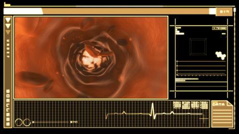 Digital interface displaying bloodflow through vei Animation