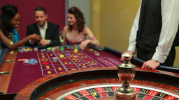 Man placing bet for roulette Footage