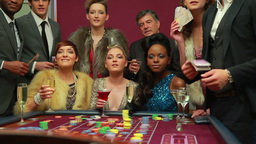 Women winning at roulette and cash falling on them Stock Video Footage