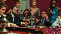 People playing roulette Stock Video Footage