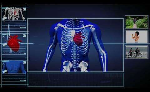 Medical interface showing skeleton running and hea Stock Video Footage
