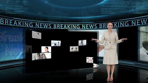 Reporter telling the breaking news on tv Animation