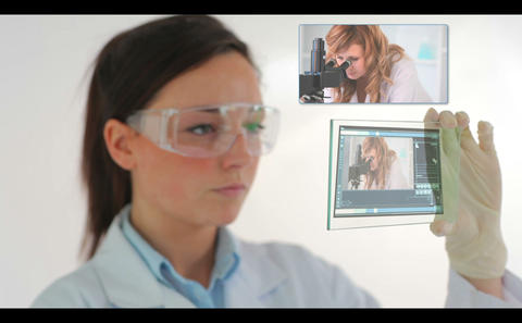Scientist watching videos of research Animation
