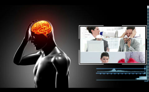 Human figure getting headache with clips of various reasons appearing Animation