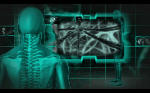 Skeleton Spinning Around While Parts Are Monitored stock footage
