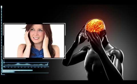 Revolving figure with highlighted brain show heada Stock Video Footage