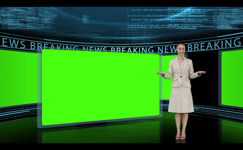 Woman presenting breaking news Animation