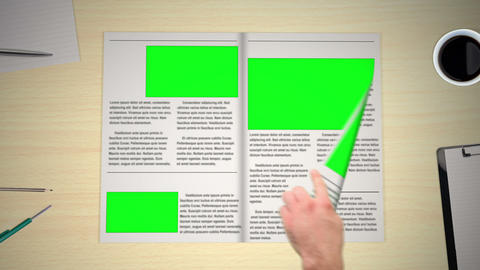 Hand turning pages of newspaper Animation