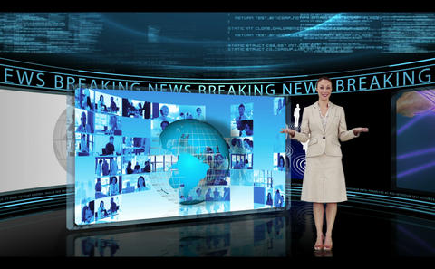 Woman reporting about breaking news Animation