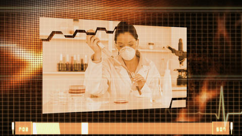 Montage of medical research in orange Animation