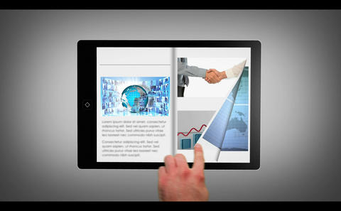 Hand selecting from digital tablet bookshelf Stock Video Footage