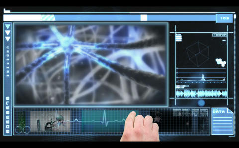 Medical interface showing medical research and neu Stock Video Footage