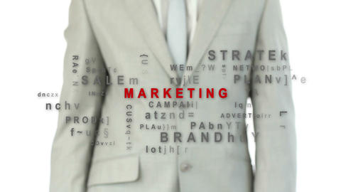 Businessman pressing the marketing button Animation
