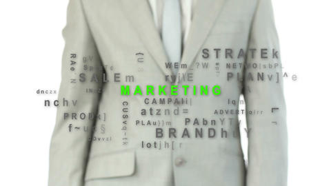 Businessman pushing the marketing button Animation