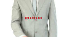 Businessman pressing the business button Stock Video Footage